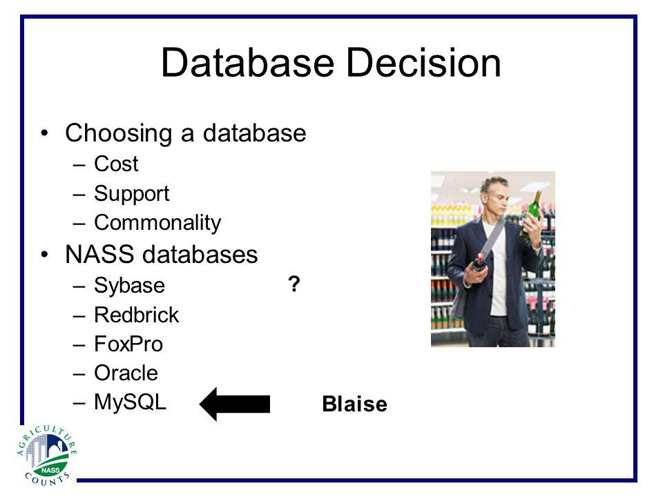 Database Decision Choosing a database –C–Cost –S–Support –C–Commonality NASS databases –S–Sybase –R–Redbrick –F–FoxPro –O–Oracle –M–MySQL Blaise ?