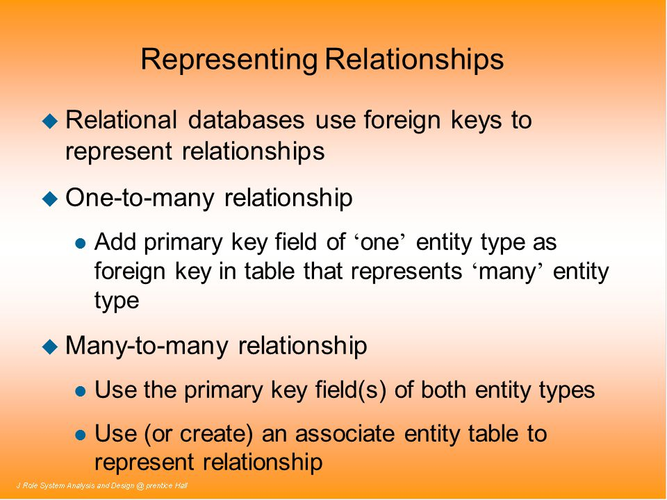 Representing Relationships u Relational databases use foreign keys to represent relationships u One-to-many relationship Add primary key field of one