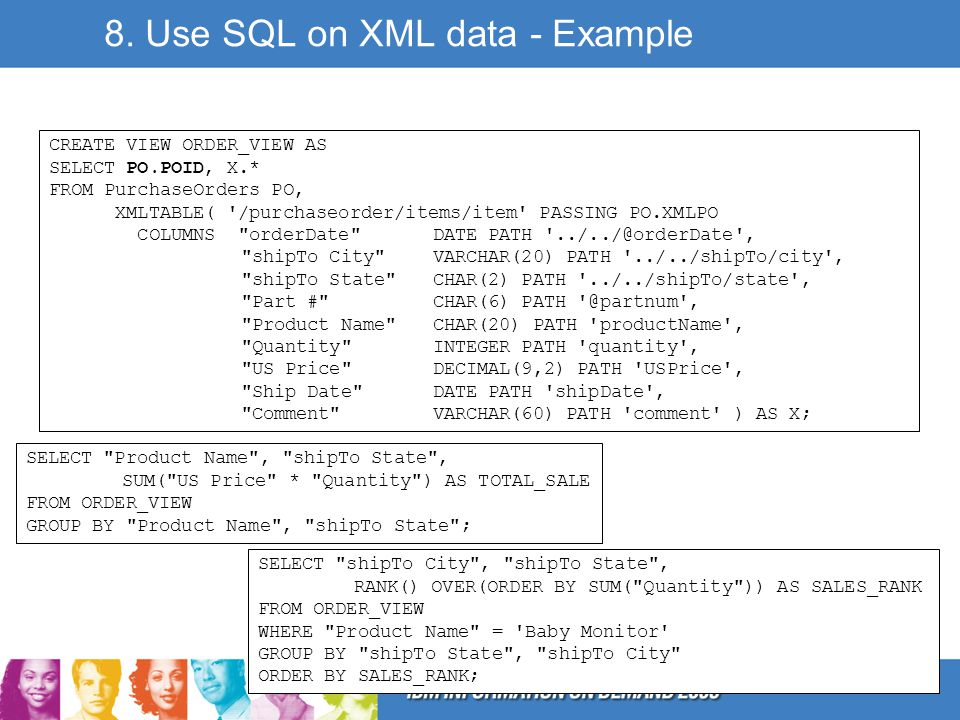 8. Use SQL on XML data - Example CREATE VIEW ORDER_VIEW AS SELECT PO.POID, X.* FROM PurchaseOrders PO, XMLTABLE( '/purchaseorder/items/item' PASSING P