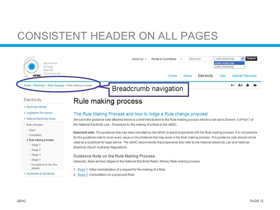 AEMCPAGE 12 CONSISTENT HEADER ON ALL PAGES Breadcrumb navigation