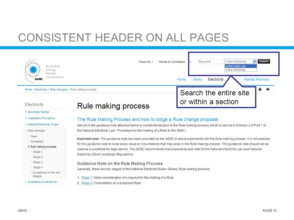 AEMCPAGE 13 CONSISTENT HEADER ON ALL PAGES Search the entire site or within a section