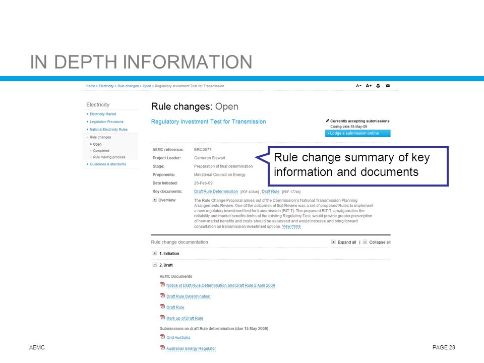 AEMCPAGE 28 IN DEPTH INFORMATION Rule change summary of key information and documents