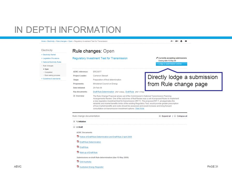 AEMCPAGE 31 IN DEPTH INFORMATION Directly lodge a submission from Rule change page