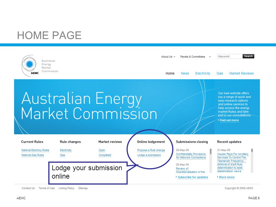 AEMCPAGE 6 HOME PAGE Lodge your submission online