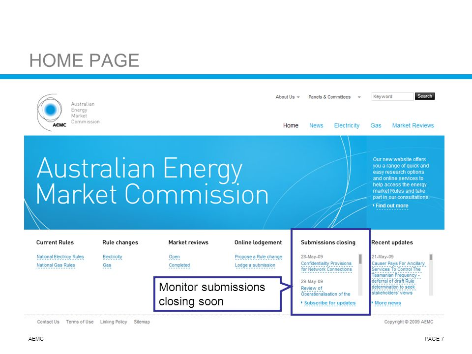 AEMCPAGE 7 HOME PAGE Monitor submissions closing soon