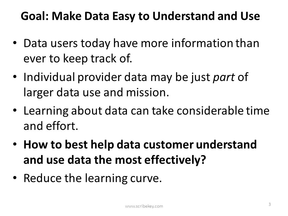 Multiple Data Description Sources Website Documentation Metadata User Tech Support Data Itself Users learn how to use data through a variety of sources www.scribekey.com 4 Email