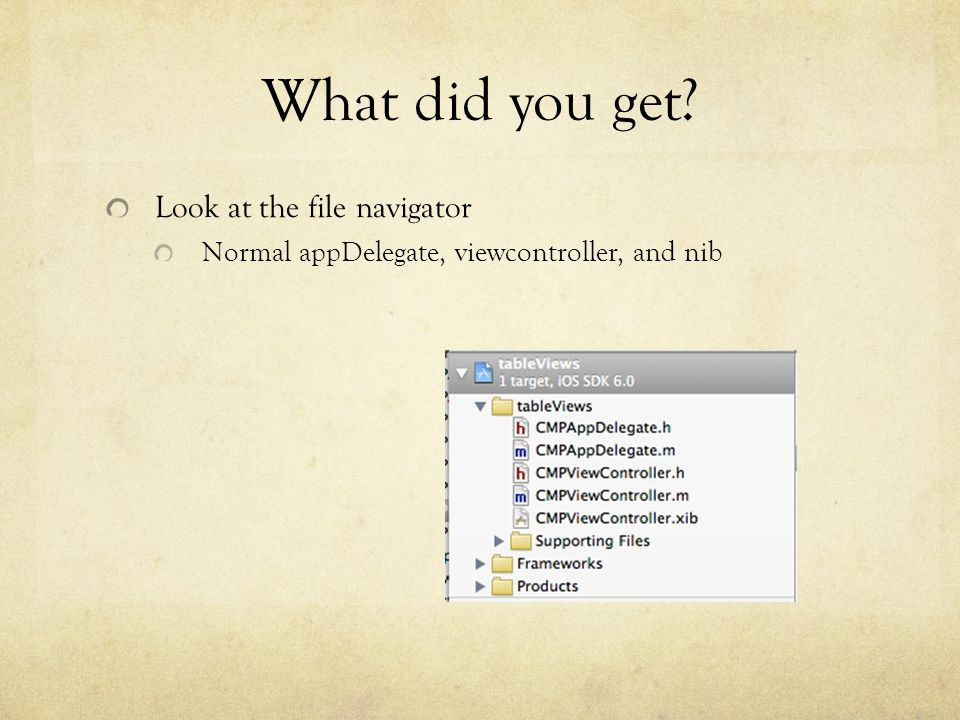 What did you get Look at the file navigator Normal appDelegate, viewcontroller, and nib