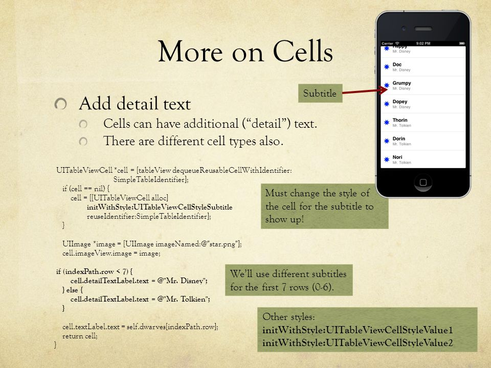More on Cells Add detail text Cells can have additional (detail) text.