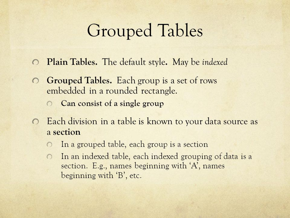 Grouped Tables Plain Tables. The default style. May be indexed Grouped Tables. Each group is a set of rows embedded in a rounded rectangle. Can consis