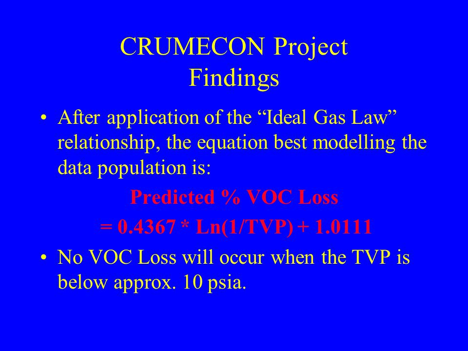 CRUMECON Project Findings After application of the Ideal Gas Law relationship, the equation best modelling the data population is: Predicted % VOC Los