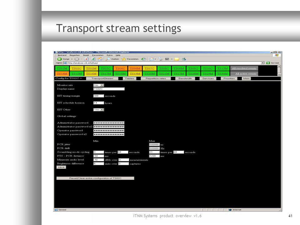 ITNM Systems product overview v1.641 Transport stream settings