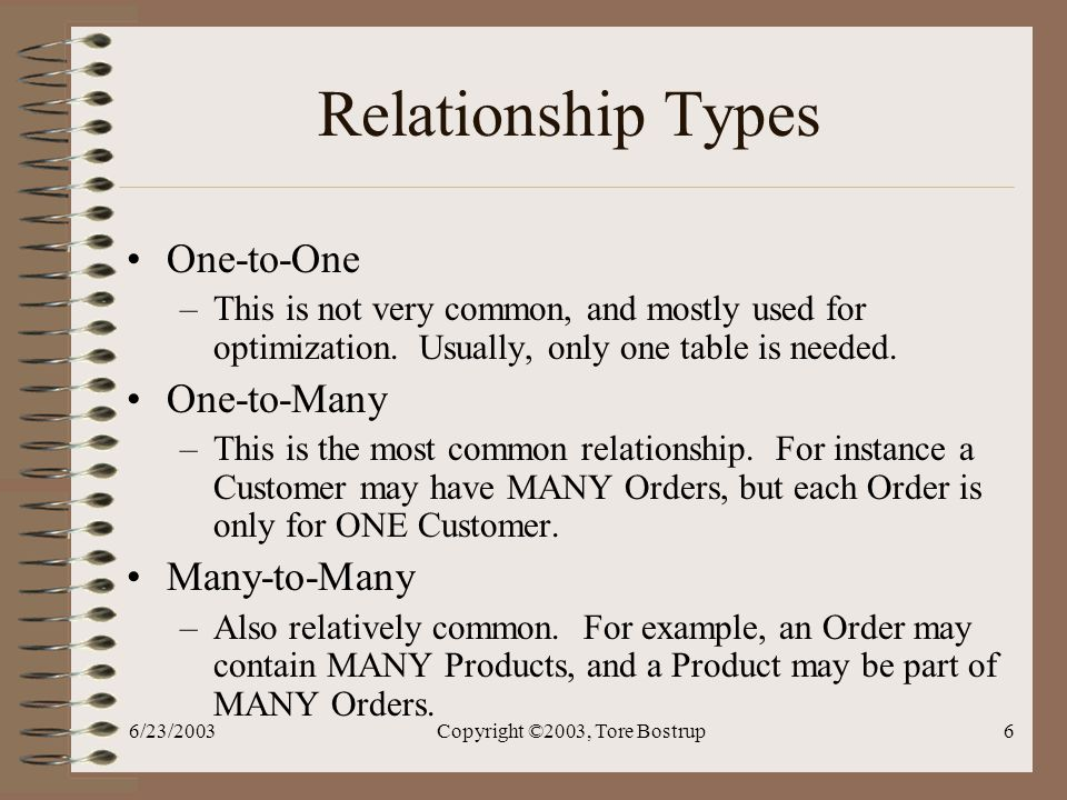 6/23/2003Copyright ©2003, Tore Bostrup6 Relationship Types One-to-One –This is not very common, and mostly used for optimization.