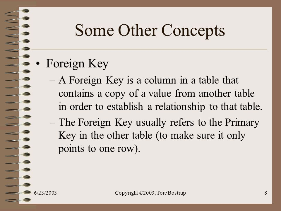 6/23/2003Copyright ©2003, Tore Bostrup8 Some Other Concepts Foreign Key –A Foreign Key is a column in a table that contains a copy of a value from another table in order to establish a relationship to that table.
