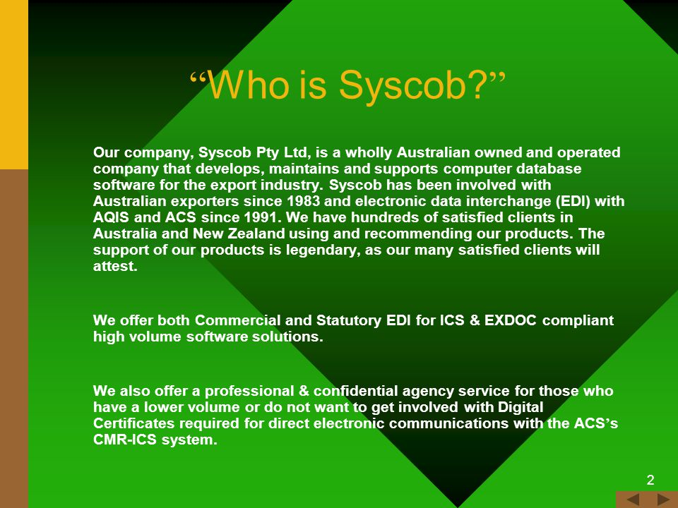 1 Export-It Plus Commercial Export Documentation Made Quickly and Easily Copyright, 2008 © Syscob Pty Ltd.