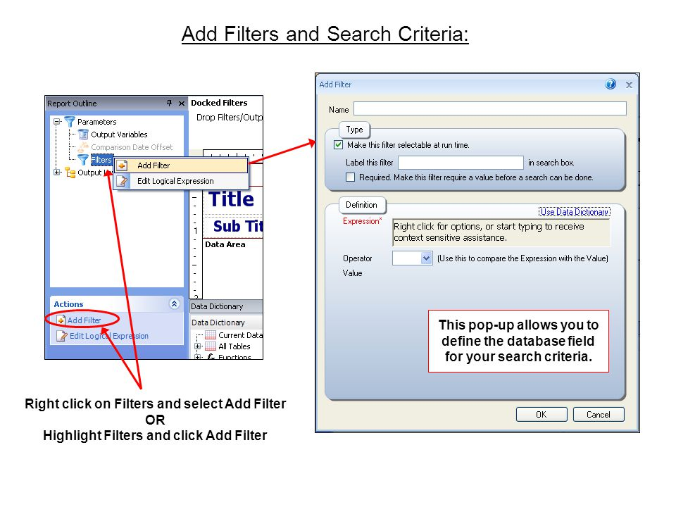 Add Filters and Search Criteria: Right click on Filters and select Add Filter OR Highlight Filters and click Add Filter This pop-up allows you to define the database field for your search criteria.
