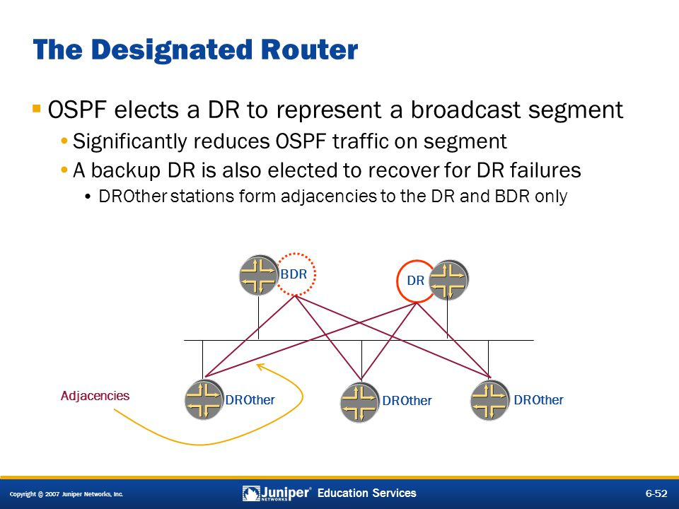 Copyright © 2007 Juniper Networks, Inc. 6-52 Education Services The Designated Router OSPF elects a DR to represent a broadcast segment Significantly