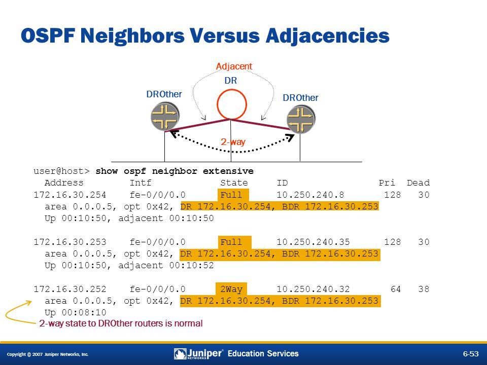 Copyright © 2007 Juniper Networks, Inc. 6-53 Education Services OSPF Neighbors Versus Adjacencies DR DROther Adjacent 2-way 2-way state to DROther rou