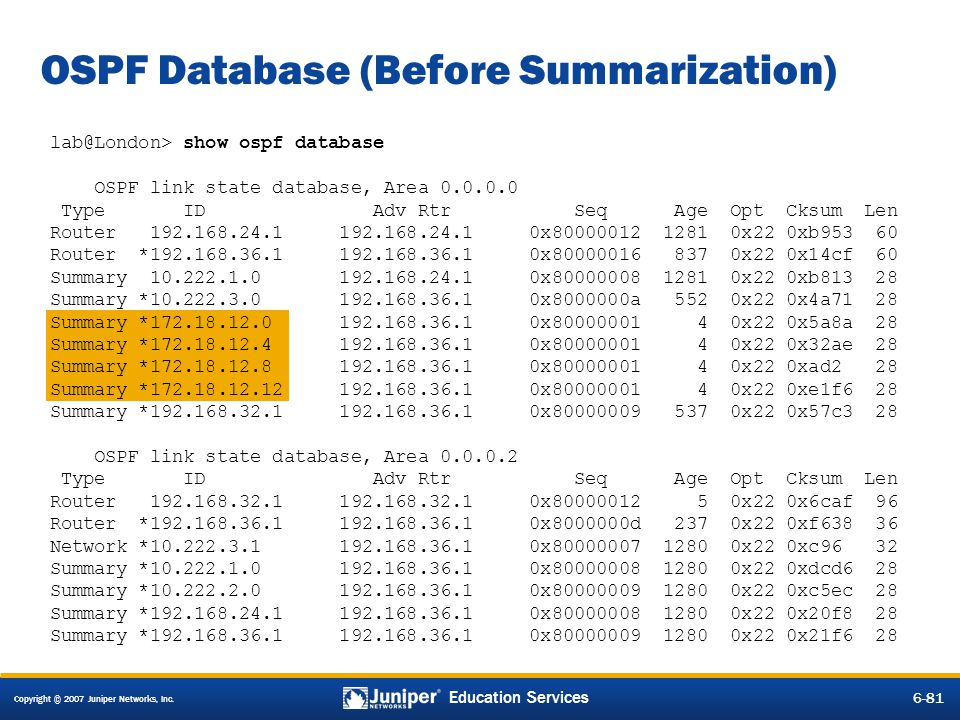 Copyright © 2007 Juniper Networks, Inc. 6-81 Education Services lab@London> show ospf database OSPF link state database, Area 0.0.0.0 Type ID Adv Rtr