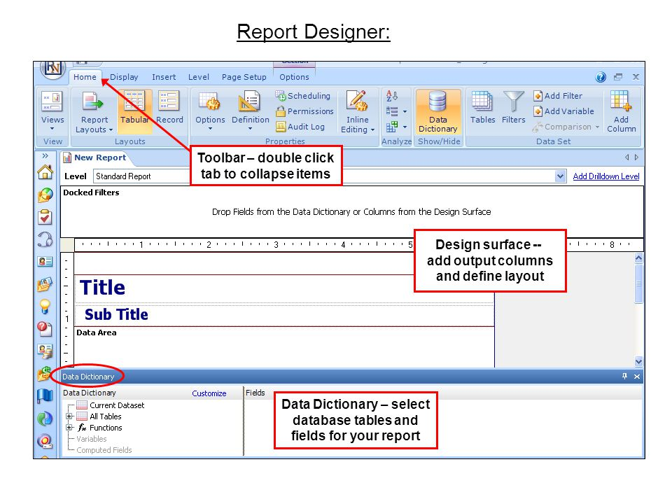 Toolbar – double click tab to collapse items Design surface -- add output columns and define layout Data Dictionary – select database tables and field