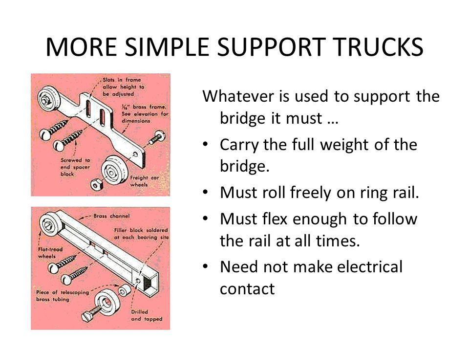 BRIDGE SUPPORT Use a truck to support the bridge. A narrow gauge truck can be used here with smaller wheels Remove wheels from one side of truck Mount