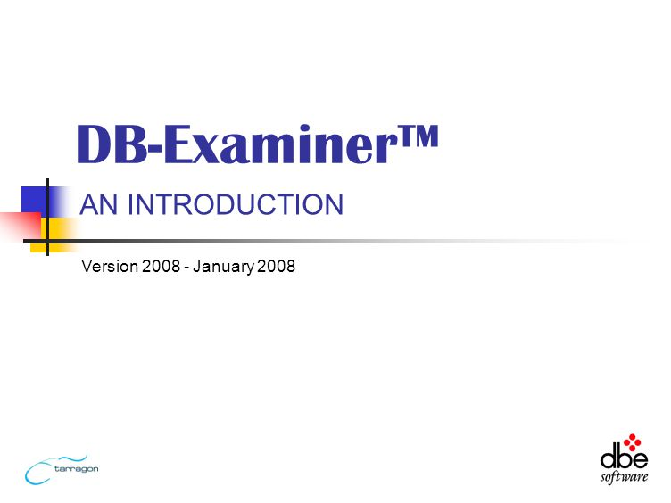 AN INTRODUCTION DB-Examiner Version January 2008
