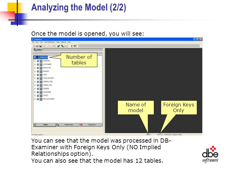 Analyzing the Model (2/2) Once the model is opened, you will see: You can see that the model was processed in DB- Examiner with Foreign Keys Only (NO Implied Relationships option).