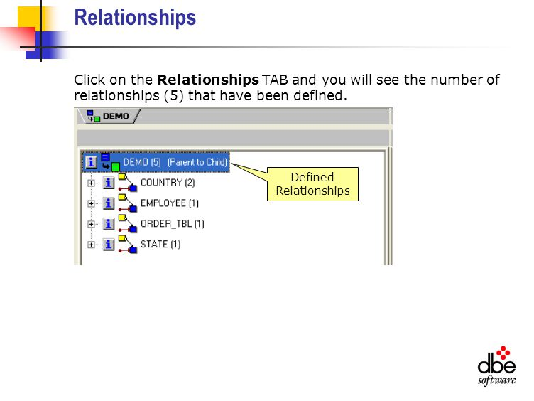 Relationships Click on the Relationships TAB and you will see the number of relationships (5) that have been defined.
