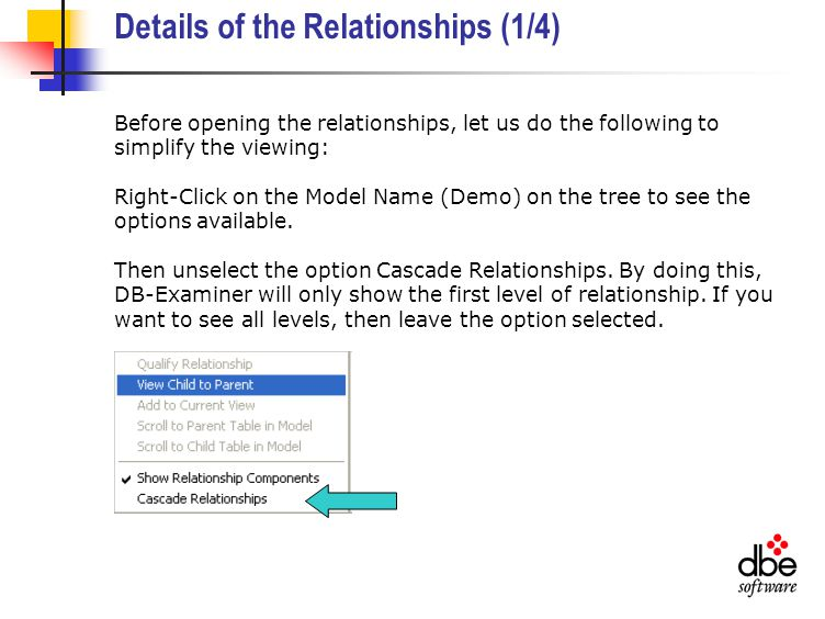 Details of the Relationships (1/4) Before opening the relationships, let us do the following to simplify the viewing: Right-Click on the Model Name (Demo) on the tree to see the options available.