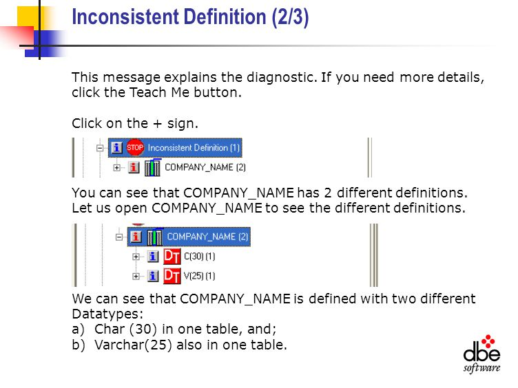 Inconsistent Definition (2/3) This message explains the diagnostic.