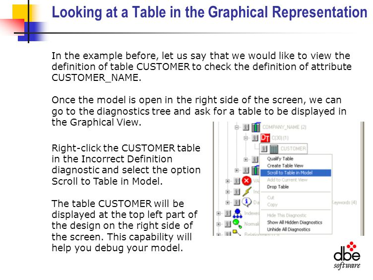 Looking at a Table in the Graphical Representation In the example before, let us say that we would like to view the definition of table CUSTOMER to check the definition of attribute CUSTOMER_NAME.