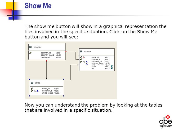Show Me The show me button will show in a graphical representation the files involved in the specific situation.