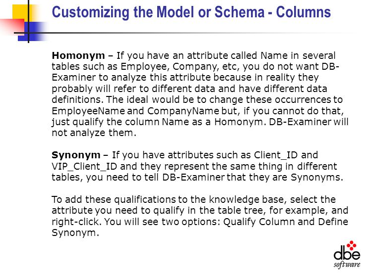 Customizing the Model or Schema - Columns Homonym – If you have an attribute called Name in several tables such as Employee, Company, etc, you do not want DB- Examiner to analyze this attribute because in reality they probably will refer to different data and have different data definitions.