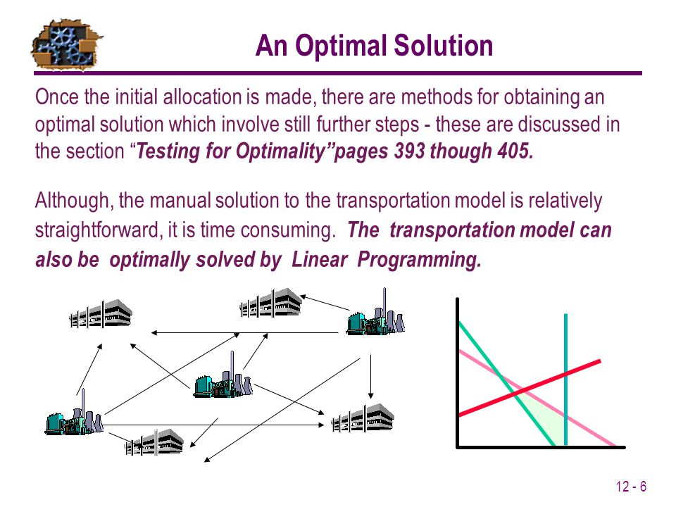 Once the initial allocation is made, there are methods for obtaining an optimal solution which involve still further steps - these are discussed in the section Testing for Optimalitypages 393 though 405.