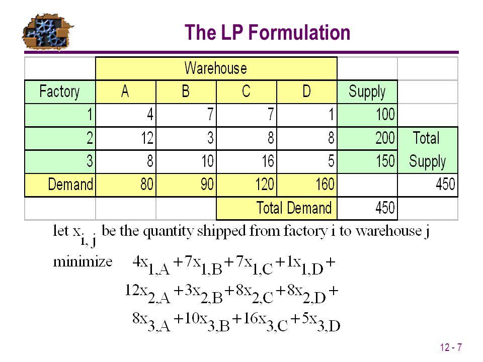 12 - 7 The LP Formulation