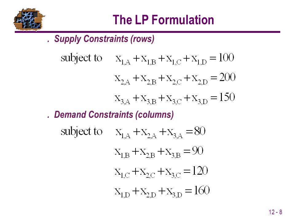 12 - 8. Supply Constraints (rows). Demand Constraints (columns) The LP Formulation