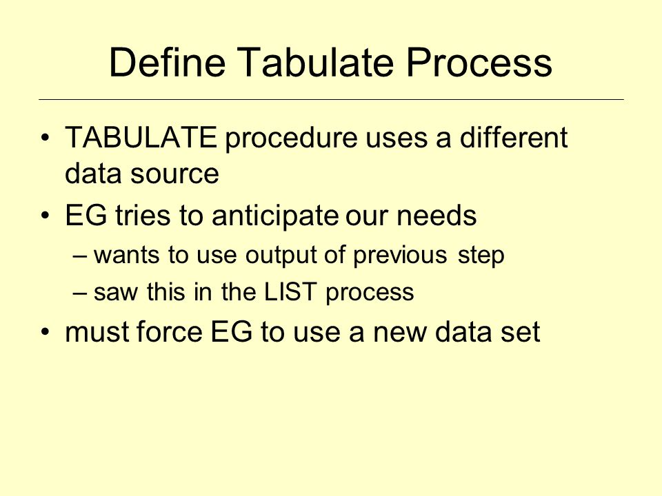 Define Tabulate Process TABULATE procedure uses a different data source EG tries to anticipate our needs –wants to use output of previous step –saw th
