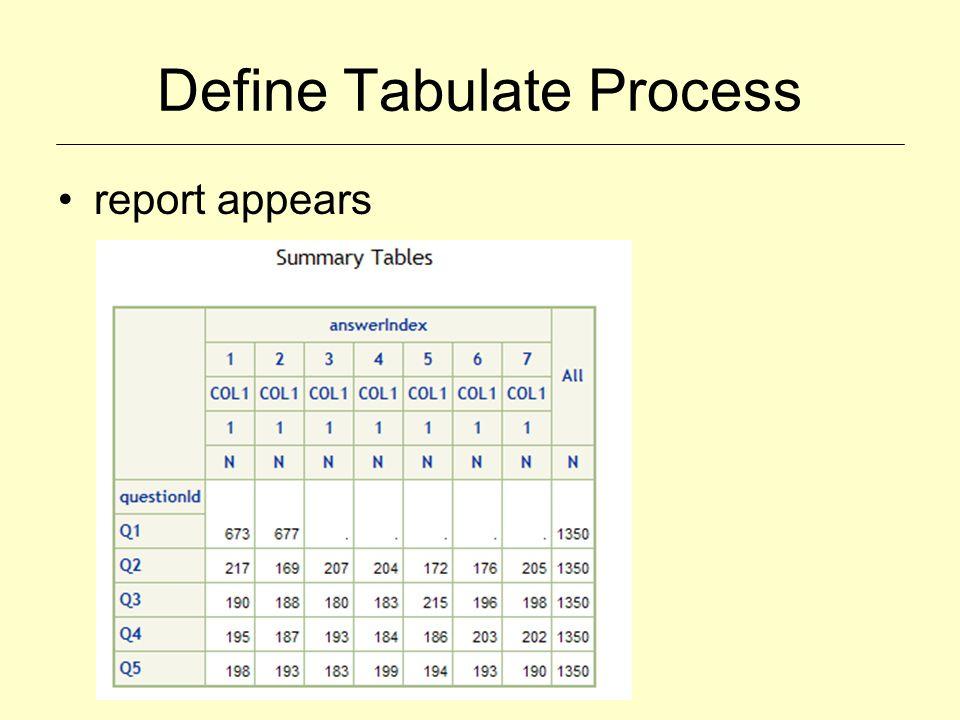 Define Tabulate Process report appears