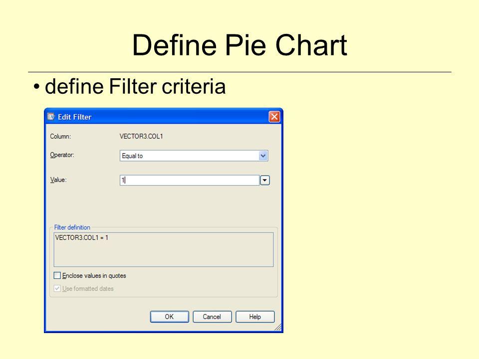 Define Pie Chart define Filter criteria