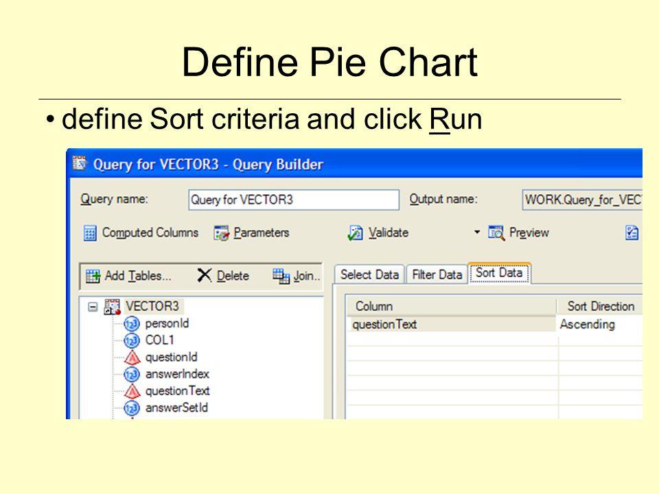 Define Pie Chart define Sort criteria and click Run
