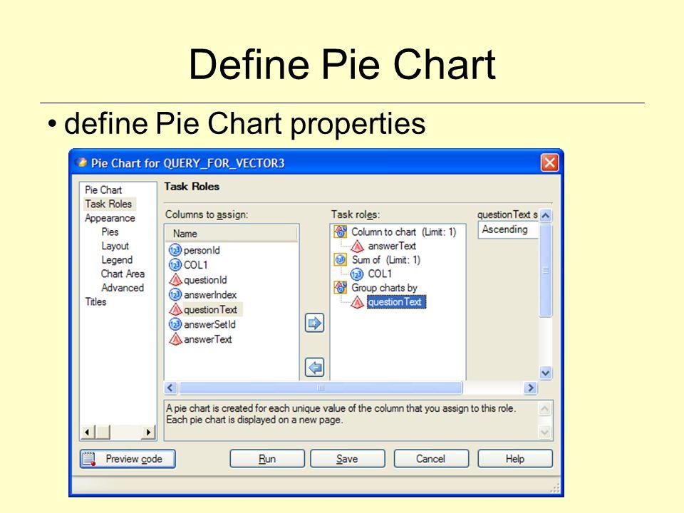 Define Pie Chart define Pie Chart properties
