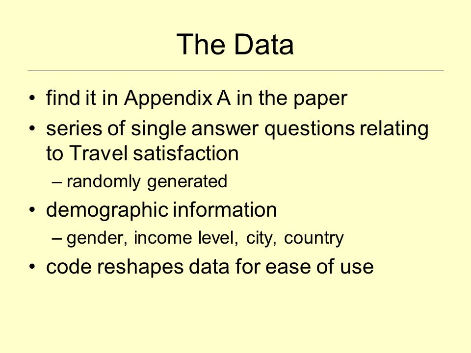 The Data find it in Appendix A in the paper series of single answer questions relating to Travel satisfaction –randomly generated demographic informat