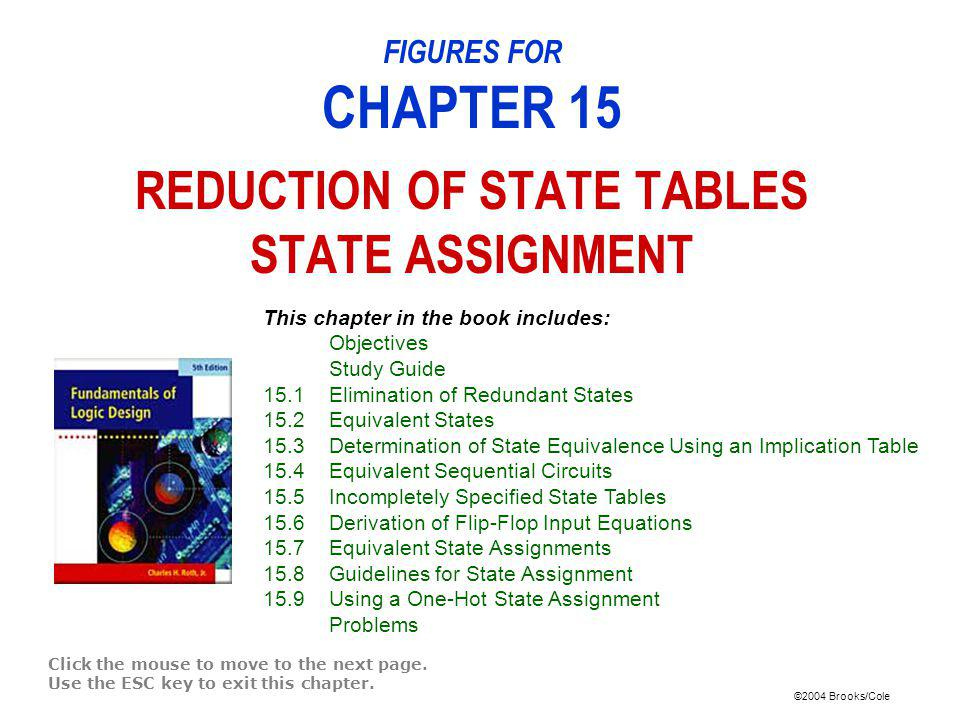 ©2004 Brooks/Cole Table 15-1: State Table for Sequence Detector