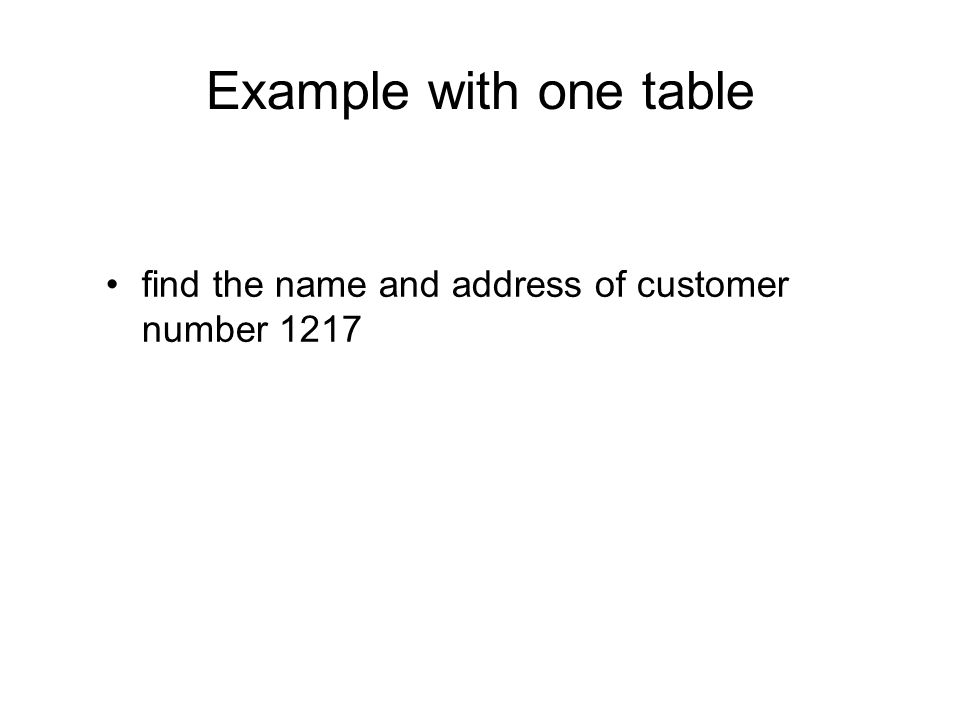 Example with one table find the name and address of customer number 1217