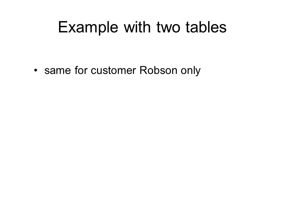 Example with two tables same for customer Robson only