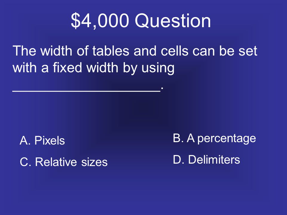 $4,000 Question The width of tables and cells can be set with a fixed width by using ___________________.