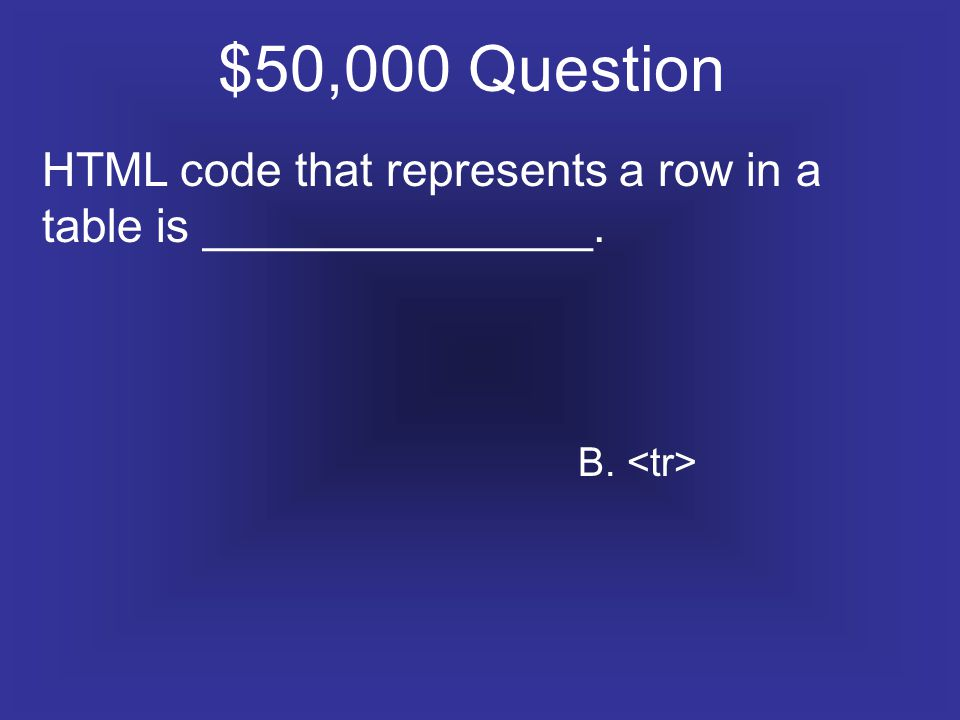 $50,000 Question HTML code that represents a row in a table is _______________. B.