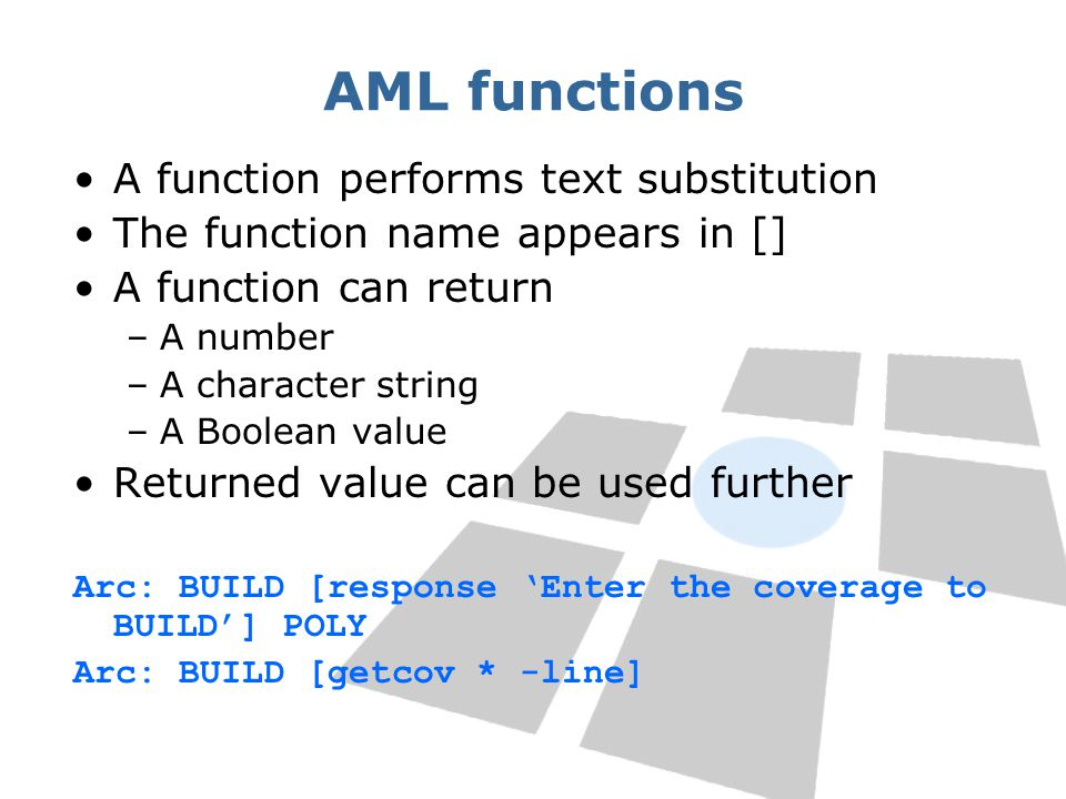 AML functions A function performs text substitution The function name appears in [] A function can return –A number –A character string –A Boolean val