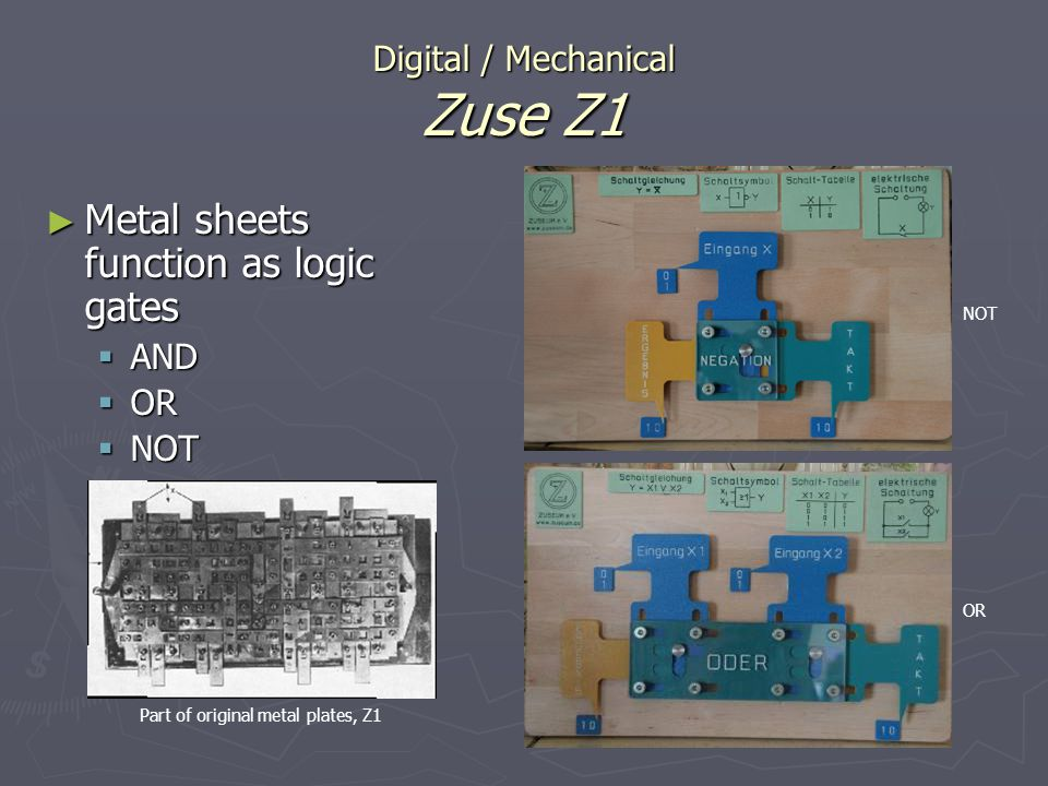 Digital / Mechanical Zuse Z1 Metal sheets function as logic gates Metal sheets function as logic gates AND AND OR OR NOT NOT NOT OR Part of original m