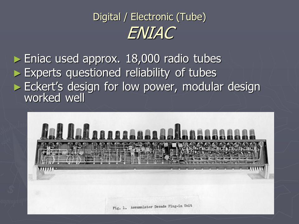 Digital / Electronic (Tube) ENIAC Eniac used approx. 18,000 radio tubes Eniac used approx. 18,000 radio tubes Experts questioned reliability of tubes
