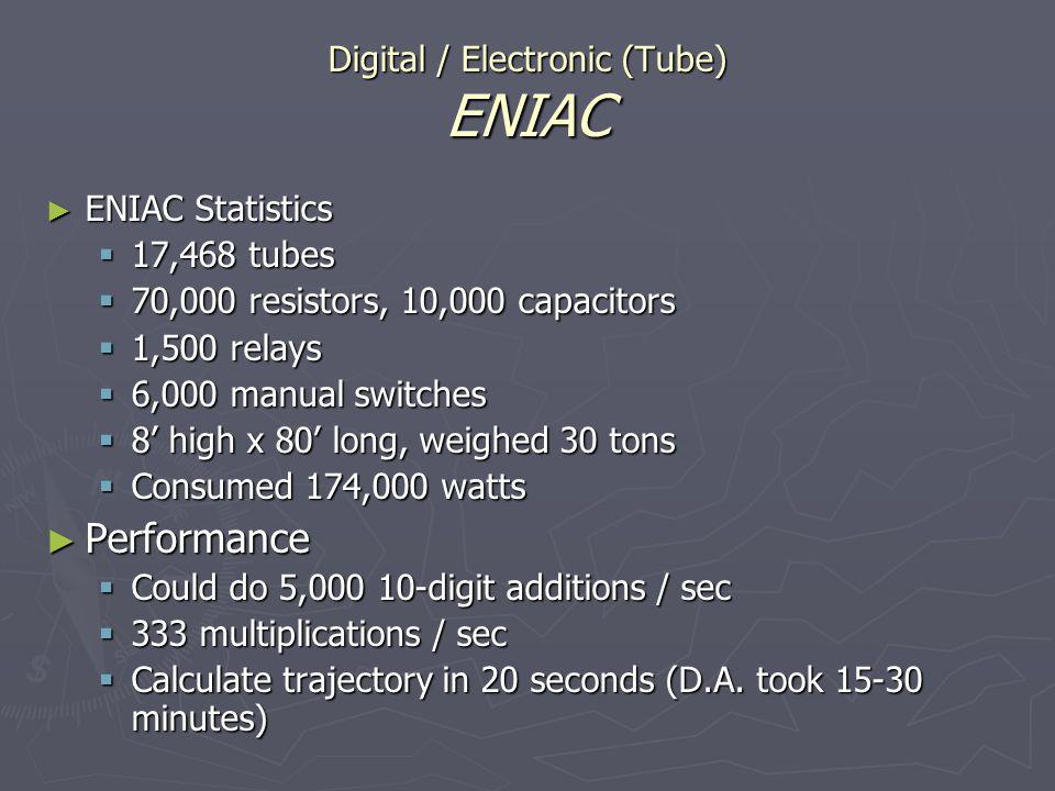 Digital / Electronic (Tube) ENIAC ENIAC Statistics ENIAC Statistics 17,468 tubes 17,468 tubes 70,000 resistors, 10,000 capacitors 70,000 resistors, 10